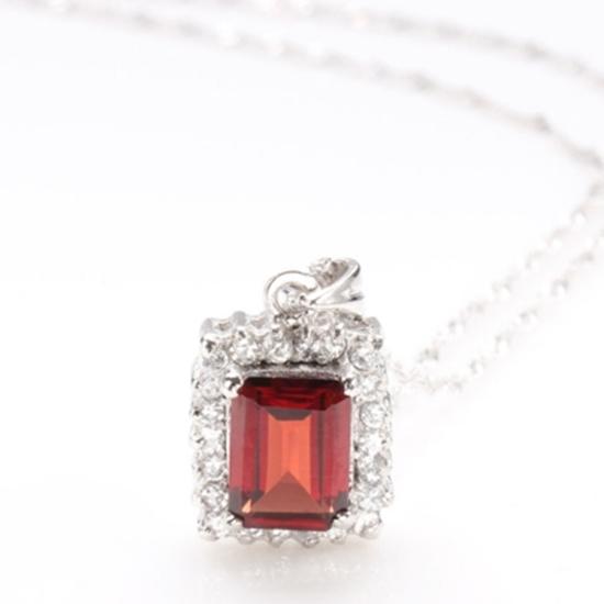 圖片 【雅紅珠寶】愛情永固天然2克拉方形石榴石項鍊