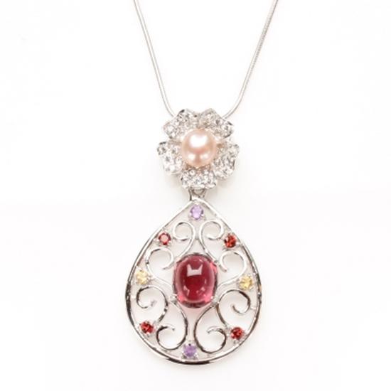 圖片 【雅紅珠寶】美女簪花天然碧璽項鍊-925純銀飾