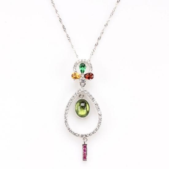 圖片 【雅紅珠寶】舞態生風天然碧璽項鍊-925純銀飾