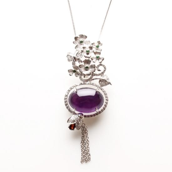 紫水晶 銀飾 項鍊