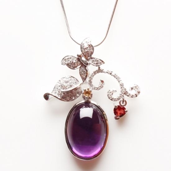 圖片 【雅紅珠寶】沂水春風天然紫水晶項鍊-925銀飾