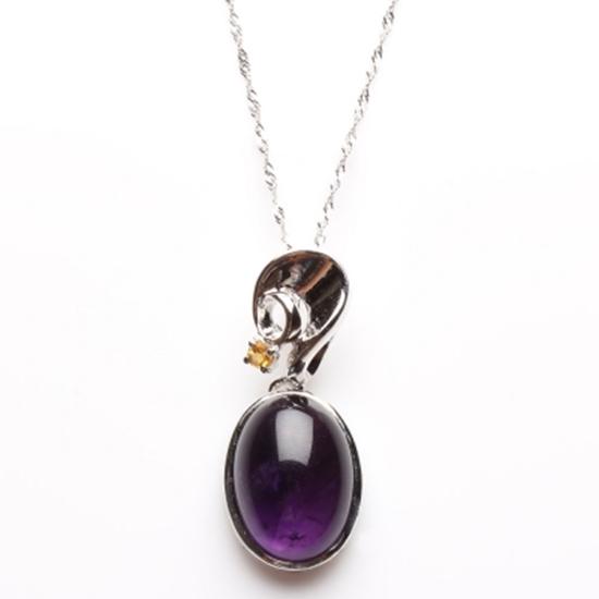 圖片 【雅紅珠寶】露紅煙紫天然紫水晶項鍊-925純銀飾