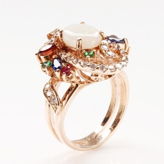 天然 蛋白石 雅紅珠寶