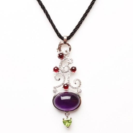 紫水晶 鑲鑽 項鍊