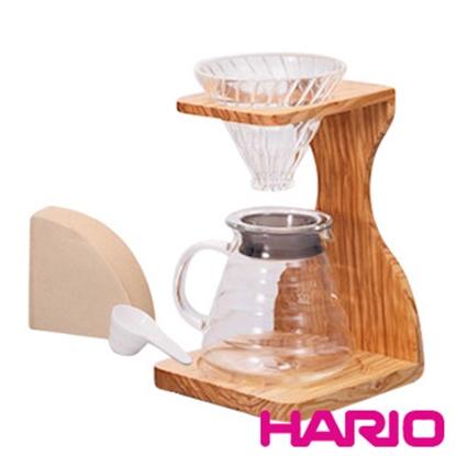 圖片 【HARIO】V60玻璃濾杯木架咖啡壺組 VSS-1206-OV