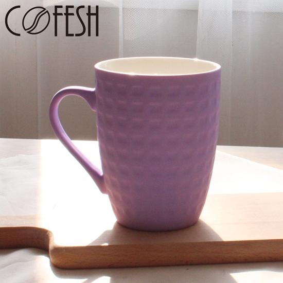 圖片 COFESH 格紋半手作葡萄紫馬克杯350ml MUL-35-PP
