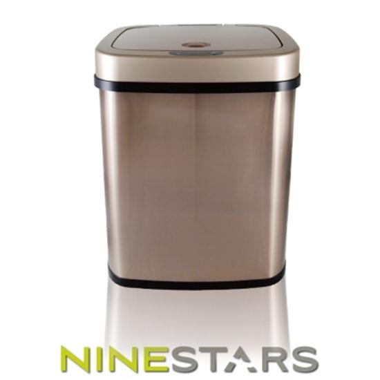 圖片 美國NINESTARS感應式掀蓋垃圾桶12公升 DZT-12-5 / 香檳金