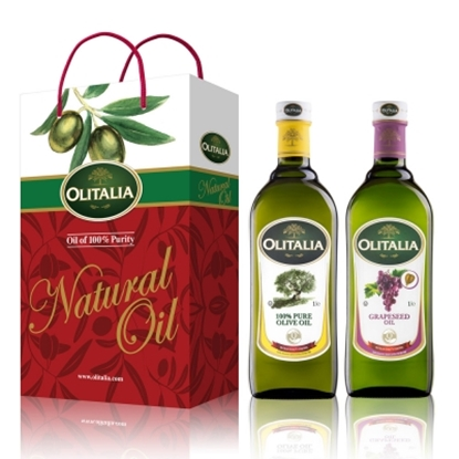 圖片 【Olitalia奧利塔】純橄欖油+葡萄籽油禮盒組(1000mlx2瓶)