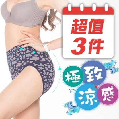 圖片 【JS嚴選】台灣製性感豹紋涼感紗中腰無縫三角褲(中腰豹紋褲*3)