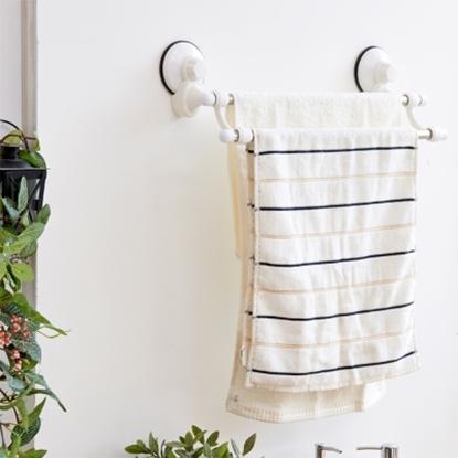 圖片 【ikloo宜酷屋】TACO無痕吸盤系列-不鏽鋼雙桿毛巾架