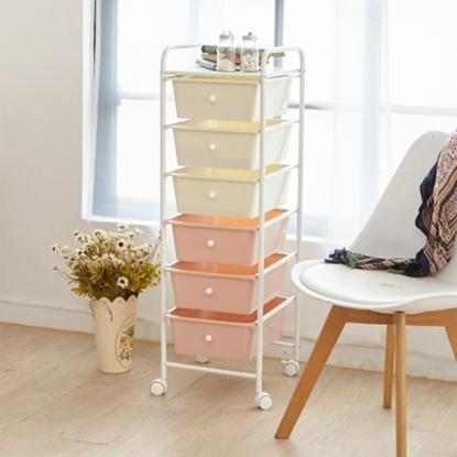 圖片 【H&R安室家】可移式漾彩粉嫩六層抽屜車/收納箱-G206DA
