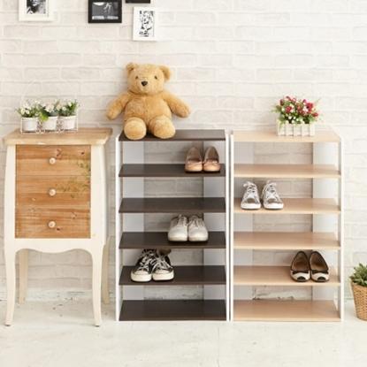 圖片 【H&R安室家】日系優雅五層木質鞋櫃-SHF19