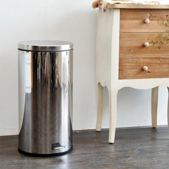圖片 【H&R安室家】不鏽鋼腳踏垃圾桶-30L(台灣製造)-PB07D