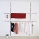 【H&R安室家】頂天立地可調式不鏽鋼曬衣架-HGF24