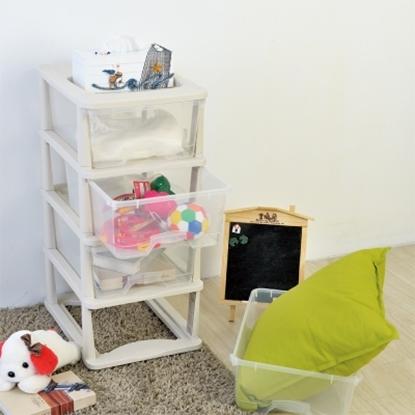 圖片 【H&R安室家】四層清新透白抽屜收納箱/整理箱-BNF16