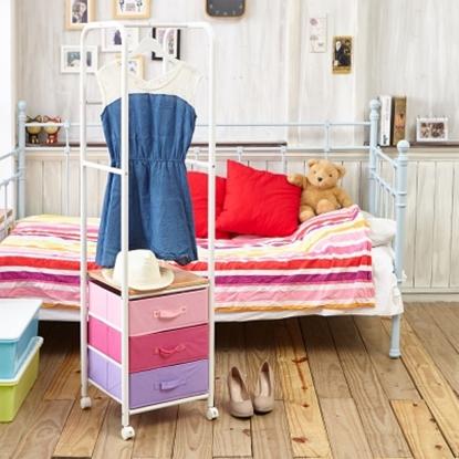 圖片 【H&R安室家】日系簡約三抽衣架/組合式衣櫃 (附輪)-LS126