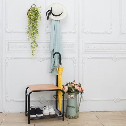 圖片 【H&R安室家】無印風優雅穿鞋椅/衣帽架-CH07