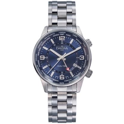 圖片 DAVOSA Vireo Dual Time–威利爾經典雙時區系列鋼帶腕錶-藍/42mm