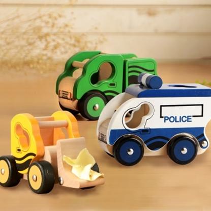 樂兒學 兒童模型車木製學習積木-推土機(黃)+翻斗車(綠)+警車