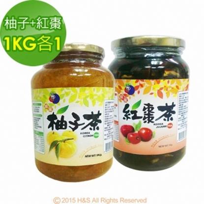 圖片 《韓廣》韓國蜂蜜柚子茶+紅棗茶(1KG)(各1入)