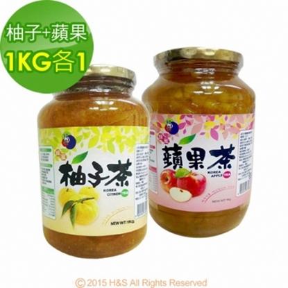 圖片 《韓廣》韓國蜂蜜生柚子茶+蘋果茶(1KG)(各1入)