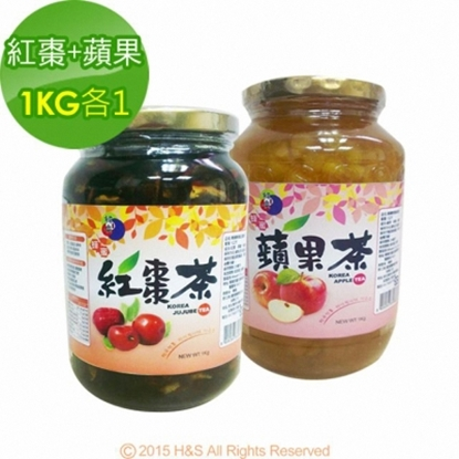 圖片 《韓廣》韓國蜂蜜紅棗茶+蘋果茶(1KG)(各1入)
