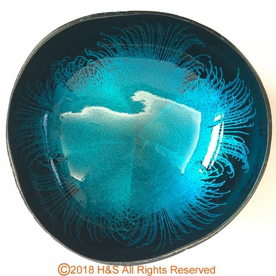 圖片 【璞木POMO】手作椰殼置物漆器煙花系列(藍)