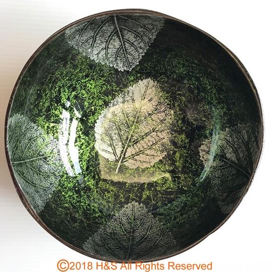圖片 【璞木POMO】手作椰殼置物漆器葉拓系列(綠)