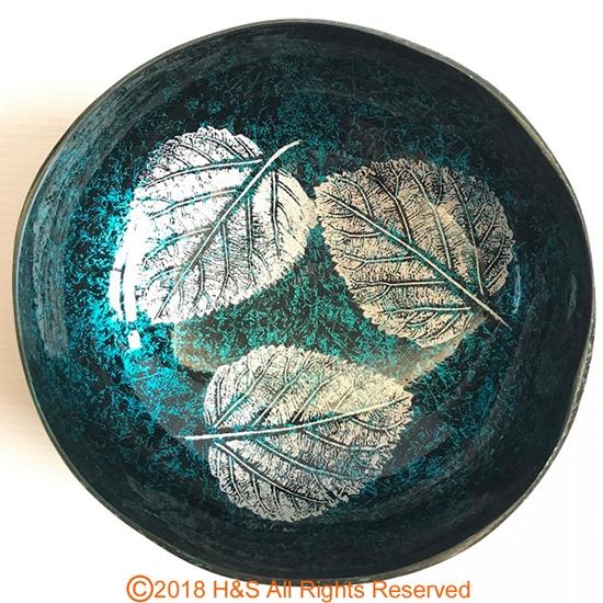 圖片 【璞木POMO】手作椰殼置物漆器葉拓系列(藍)