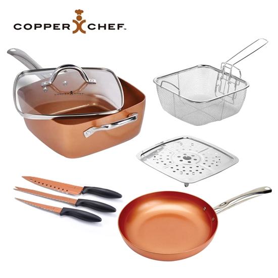 圖片 【COPPER CHEF】美國熱銷9.5吋單柄方型不沾鍋8件組(圓煎鍋&刀具)