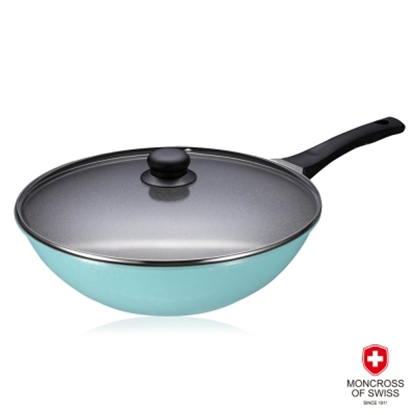 【MONCROSS】湛藍鈦石不沾鍋具組-炒鍋2件組-32cm