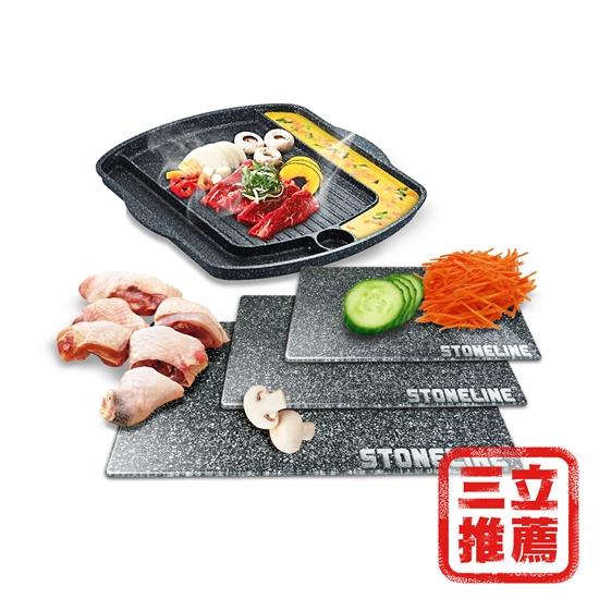 圖片 【料理雙寶】STONELINE鋼化玻璃砧板+CUOCO方型烤盤-電