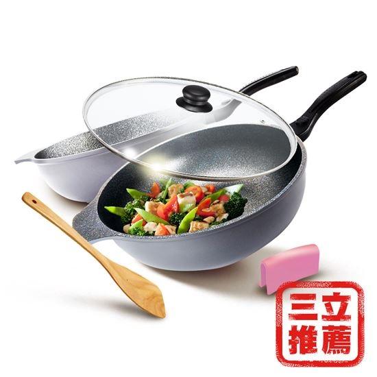 圖片 【CUOCO】超大容量鈦晶岩大寶鍋34cm(鍋蓋+木鏟+隔熱夾)-美安