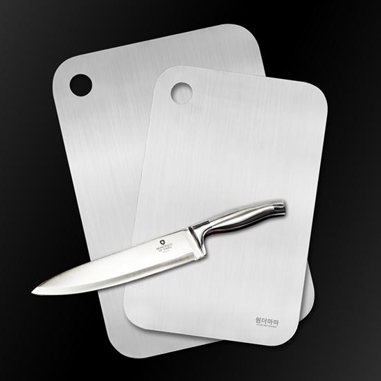 圖片 【韓國WONDERMAMA】316永不發霉不鏽鋼砧板1+1(送刀具)-電