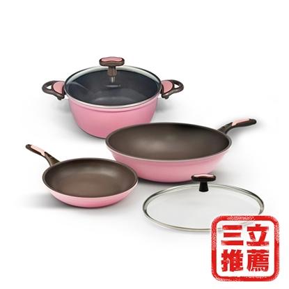 韓國WONDER MAMA粉鑽鍋(3鍋2蓋5件組)-美