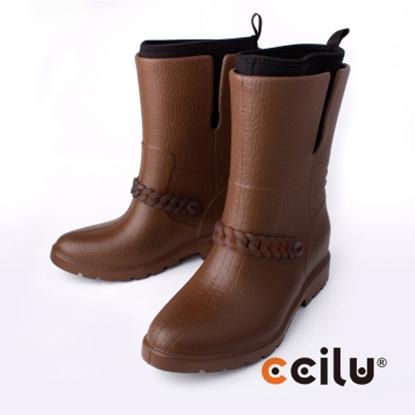 圖片 【CCILU】(女款)BYKER BECHY日系防水中短筒靴/雨靴-咖啡302066397
