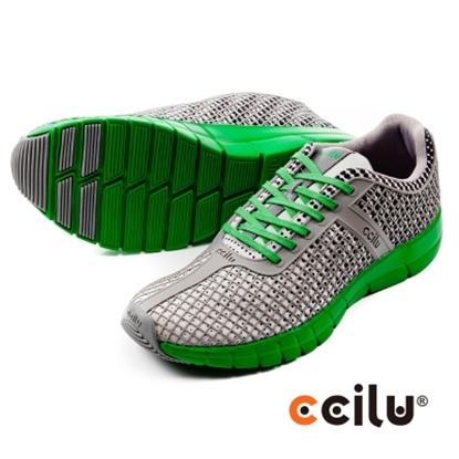 圖片 【CCILU】(男款)QUEST日系輕量運動休閒鞋-灰綠301097181