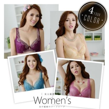 圖片 【LAQUEEN】蕾絲刺繡美胸蠶絲內襯內衣4套組A-F(9197)