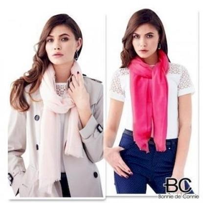 圖片 《2件↘7折$1780》【法國BC】 100%純羊毛輕暖披肩2件組 (桃紅+粉紅)-電