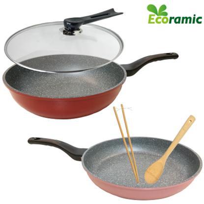 圖片 Ecoramic 鈦晶石不沾鍋30cm加大五件組-電