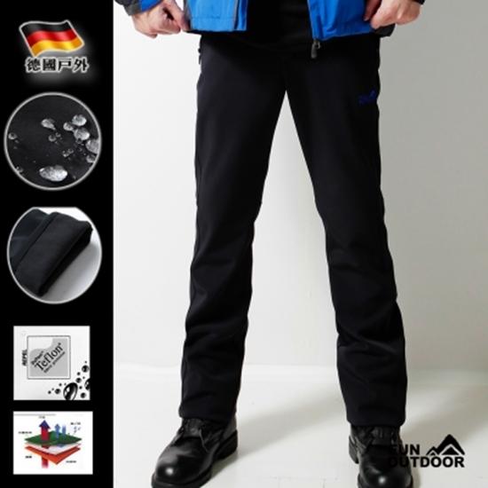圖片 【德國戶外趣】三層貼合彈性軟殼褲(黑)-電