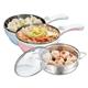 【Dowai多偉】1.5L蒸健康料理鍋/美食鍋/電炒鍋(含蒸籠) EC-150