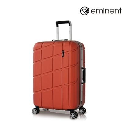 圖片 【EMINENT】幾何變奏曲-鋁框飛機輪全PC行李箱 24吋<新橘紅>9P3