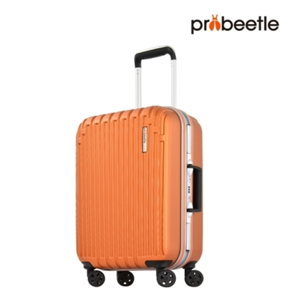 【PROBEETLE】經典直條紋輕量鋁框行李箱20吋<棕紅>9M3