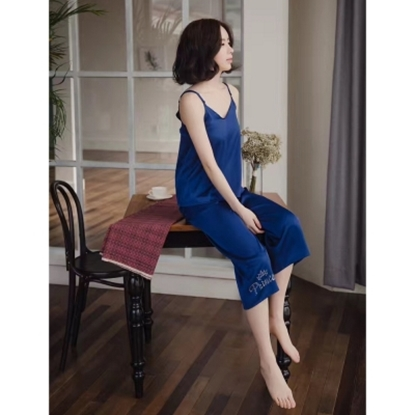圖片 【AURA亞樂】真絲緞細肩帶兩件式寬褲家居服(4色)