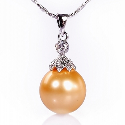 圖片 【小樂珠寶】金工師傅採高級珠寶夾鑲式,3A正圓全美南洋深海貝珍珠墬鍊項鍊