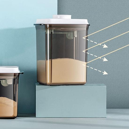 圖片 【安酷生活】一鍵搞定防滑刮平奶粉罐1000+1700+ 2300ml 避光款 (附贈勺子+掛具+三角刮平片 )(三件組)