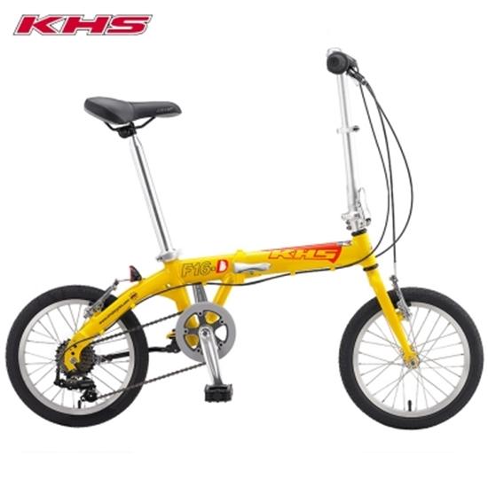 圖片 KHS 功學社 F-16D 鋁合金 16吋輪 6速折疊單車_黃色