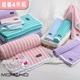 【MORINO摩力諾】美國棉雙面條紋方巾-綠/淺紫(超值4件組)