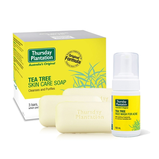 圖片 澳洲星期四農莊-茶樹潔顏幕斯+茶樹純淨皂x3超值優惠組